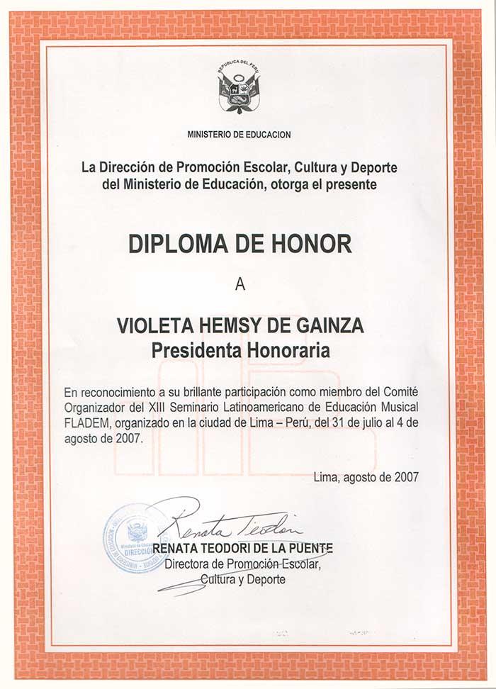 Diploma de Honor del Ministerio de Educación de Perú « Violeta ...